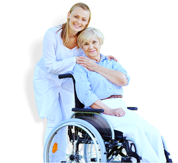 medical staff and patient in wheelchair are both smiling
